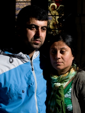 Hazar and wife. 60 - 80 Iraqi refugees, whose asylum applications have been rejected, seek in May 2009 shelter in the Church of Brorson. Some have been in Denmark for up to 10 years. Human rights organizations, the United Nations refugee agency UNHCR have asked the government to allow them to stay on a humanitarian basis.