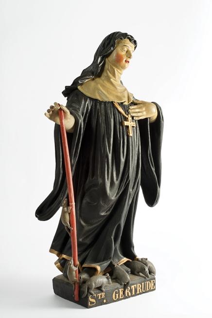 Sainte Gertrude de Nivelles (moulage) / Sint Gertrudis van Nijvel (afgietsel), début 18e siècle / begin 18de eeuw, MoMuse V 2010.094.
